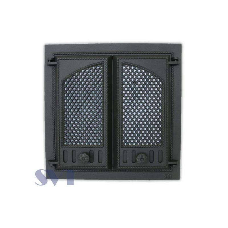 404Kaminauks/Ahjuuks Sisemõõt:410x410mm, Välismõõt:500x500mm, sädemevõrguga