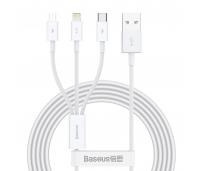 Laadimiskaabel USB cable 3in1 Superior Series, USB to micro USB / USB-C / Lightning, 3.5A, 1.2m (white)