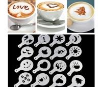 Šabloonid kohvi ja magustoidu kaunistamiseks. 16 tk. kompl.