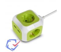 Pikendusjuhe - adapter,kuup, 2x USB, 2x pistikupesa, 1,4m